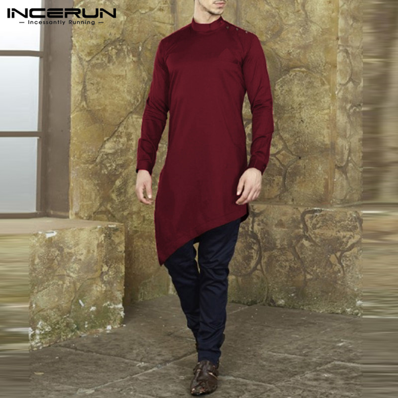 INCERUN Chic Mens Shirts Long Sleeve Irregular Hem Casual Dress Shirts Button Solid Color Muslim Clothing Kaftan Thobe Clothing