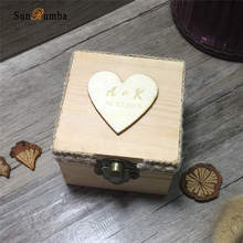 Custom Personalized Wooden Wedding Ring Bearer Box Holder Proposal Vintage Rustic Pillow Decoration(without rings )