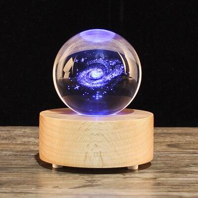 Presente de natal Globo de Neve bola de Cristal caixa de música, Bluetooth speaker madeira