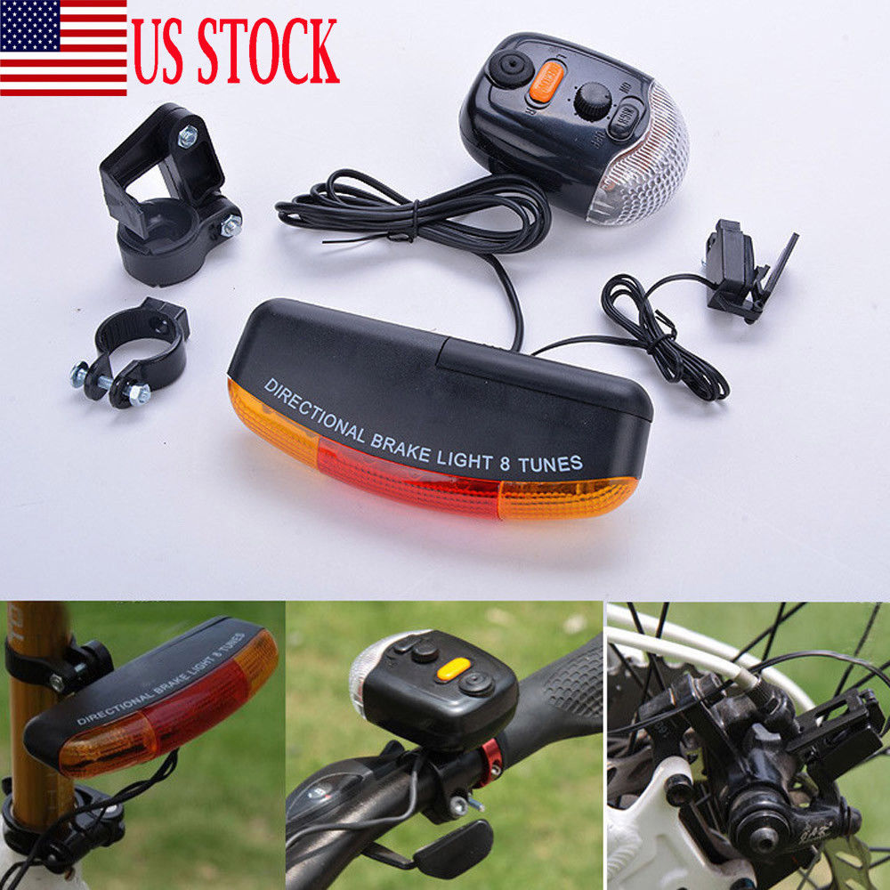 USA LED Tail Lamp Brake Stop Turn Signal Light Set For Bike Bicycle Night Lamp