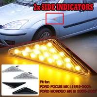 2 шт. сбоку дополнительный свет лампы светодиодный боковые габаритные указатели поворота Индикатор мигалка лампа для Ford для фокусировки Mk1 ...