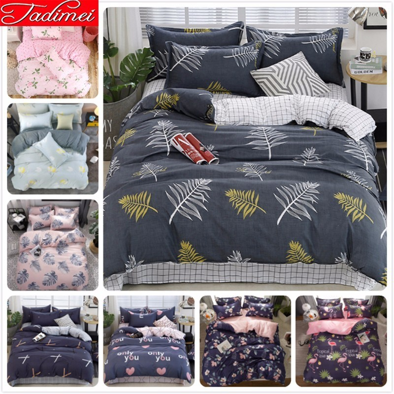 Leaves Pattern AB Double Side Duvet Cover Bedding Set Adult Kids Soft Cotton Bed Linen Single Full Queen King Size Bedspreads 2m