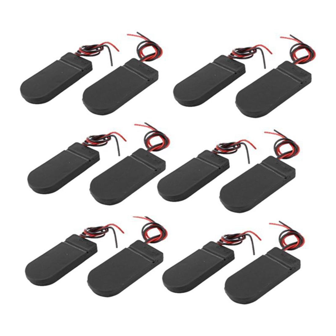 FULL-12PCS <font><b>CR2032</b></font> <font><b>Battery</b></font> Holder Plastic 2x3V Button Coin Cell <font><b>Battery</b></font> Holder Case Box <font><b>with</b></font> <font><b>Wire</b></font> Lead ON-OFF Switch (Black) image