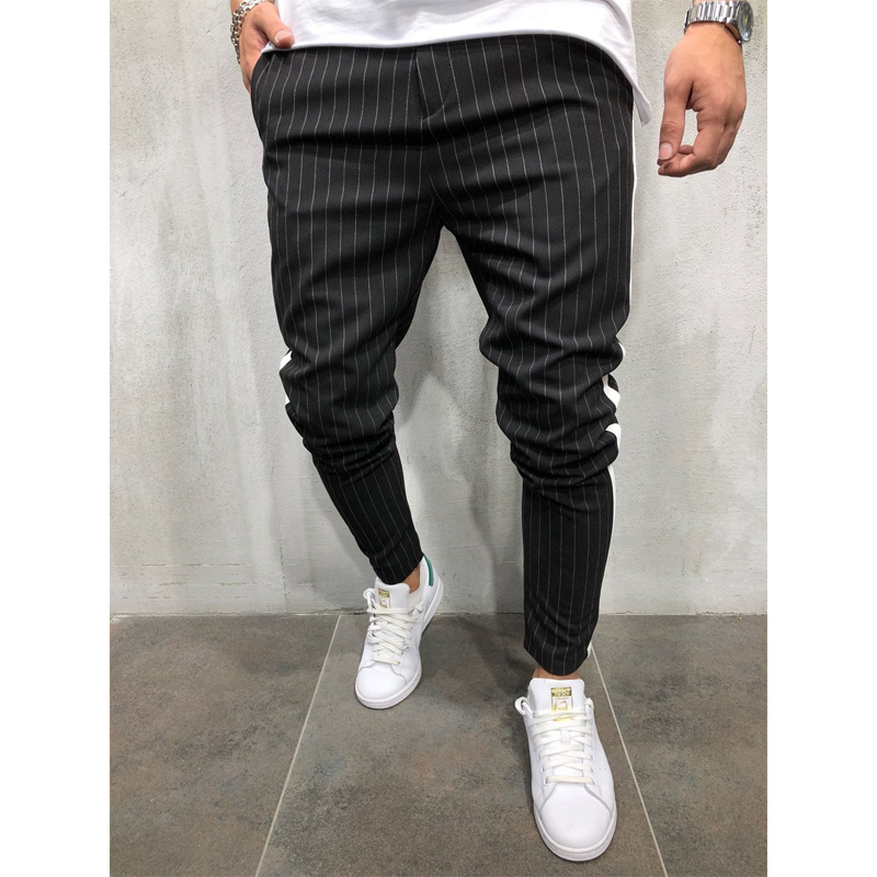 Jogger Pants Casual Trousers Fitness Stripe Urban Straight Fashion New Twill Slim Men's