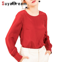 Women Silk Blouse 16mm 100% REAL SILK CREPE Blouses O neck Long sleeved OFFICE Lady Blouse 2019 Spring New Shirt Wine