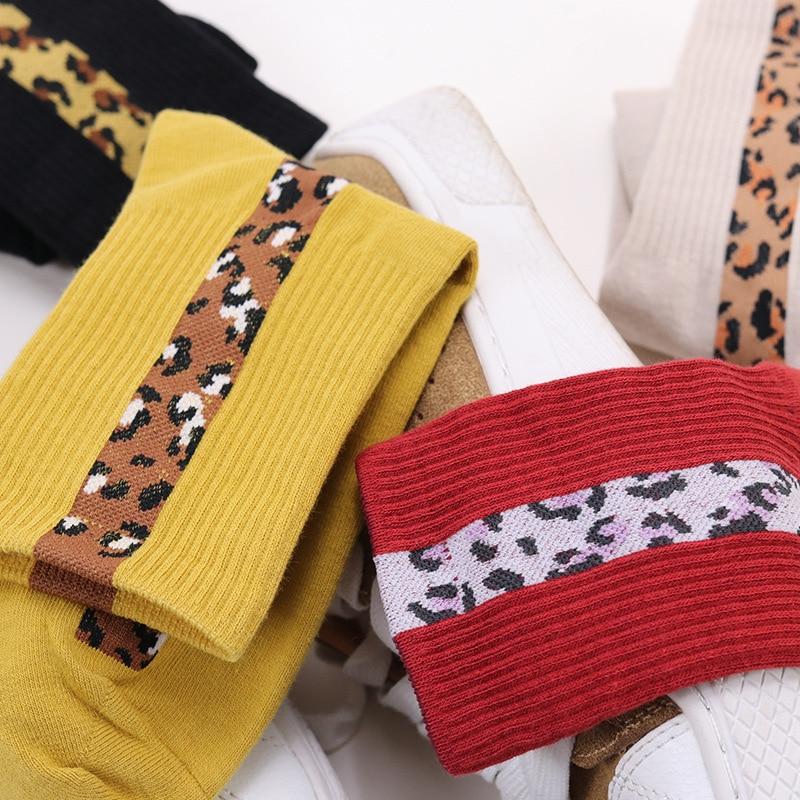Fashion Colorful Leopard Pattern Women Socks High Street Trendy Popular Socks Spring Summer Autumn Sexy Leopard Print Socks