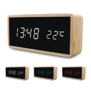 Digital Alarm Clocks Bamboo Wooden USB Charge LED Display with Mirror Temperature Digital Watch Home Bedroom Office Study Decor(China)
