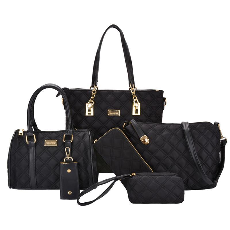 Luggage & Bags Fashion Style Coofit 6 Pcs/set Elegant Lady Handbag Nylon Shoulder Crossbody Bag For Women Composite Bags Set With Girls Purse Clutch Wallet Women's Bags