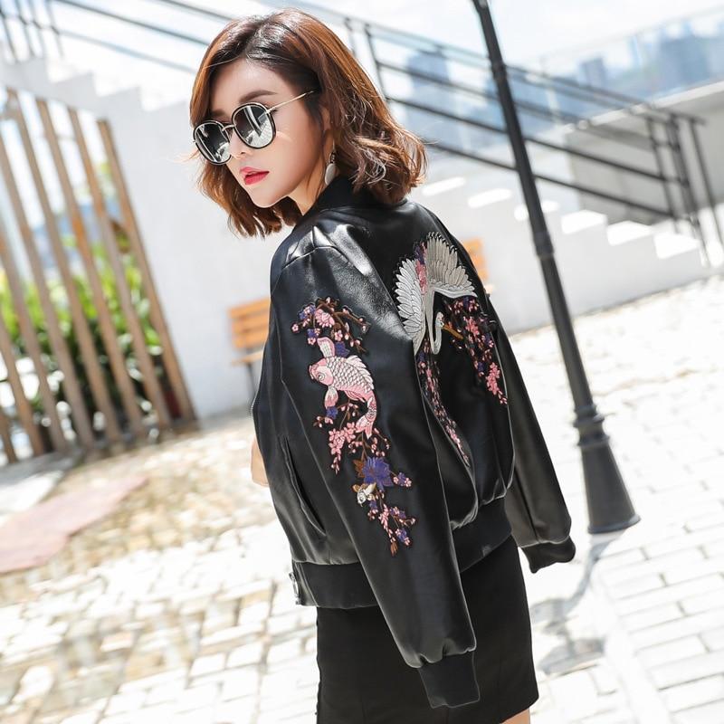 Leather Jacket Female Fashion Embroidery Washing Machine Locomotive PU Leather Jacket Slim Short Jacket Wild Baseball Clothing