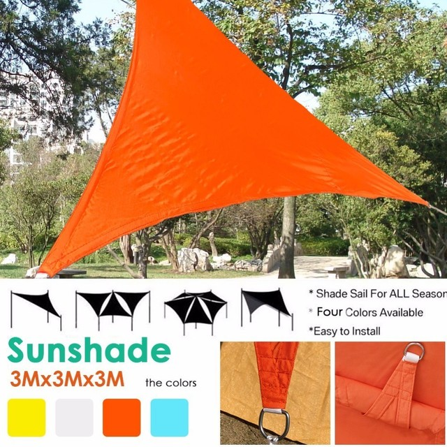US $19.57 25% OFF|UV Waterproof Triangles Sun Shade Sail 3mx3mx3m Sun  Shelter Awning Outdoor Courtyard Swimming Pool Gazebo Canopy Shading  Park-in Sun ...