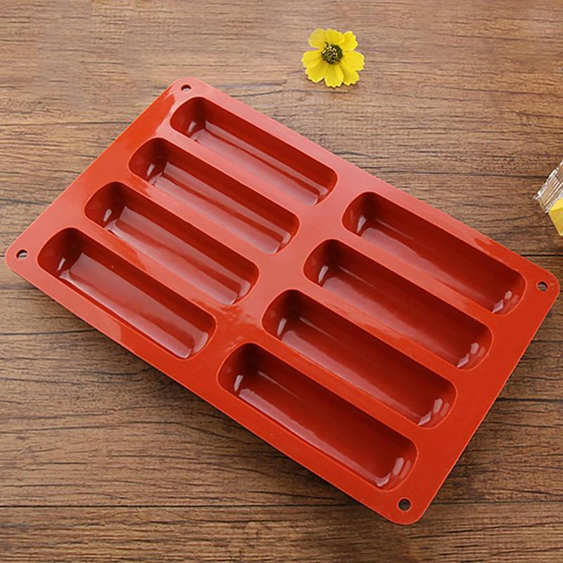 Long Strip Finger Biscuit Silicone Mold 8 Holes Oven Cake Mould Bakeware Fingers Puff Ice Cube Tray Kitchen Baking Tools