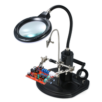 Magnifier with LED Light 2.5X 4X LED Light Magnifier Soldering Helping Hand Auxiliary Clamp Alligator Clip Stand for Welding