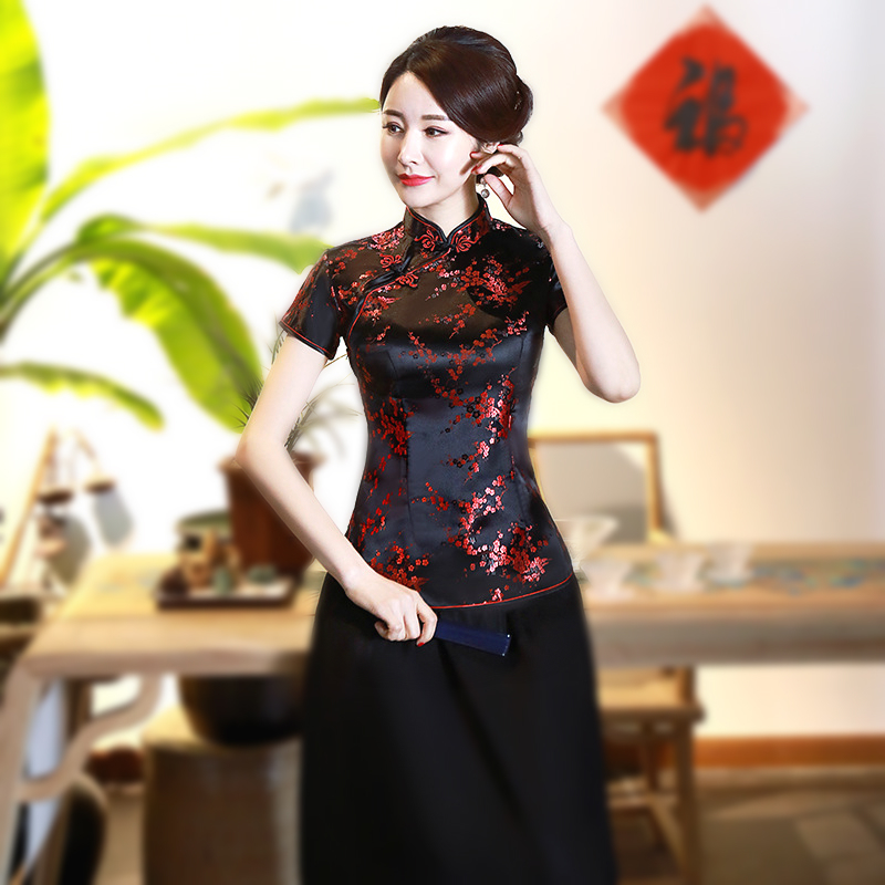 SHENG COCO 4XL 10 Color Chinese Tops Qipao Shirts Plum Printed Flower Pattern Tops Cheongsam Satin Summer Ladies Black Red Pink
