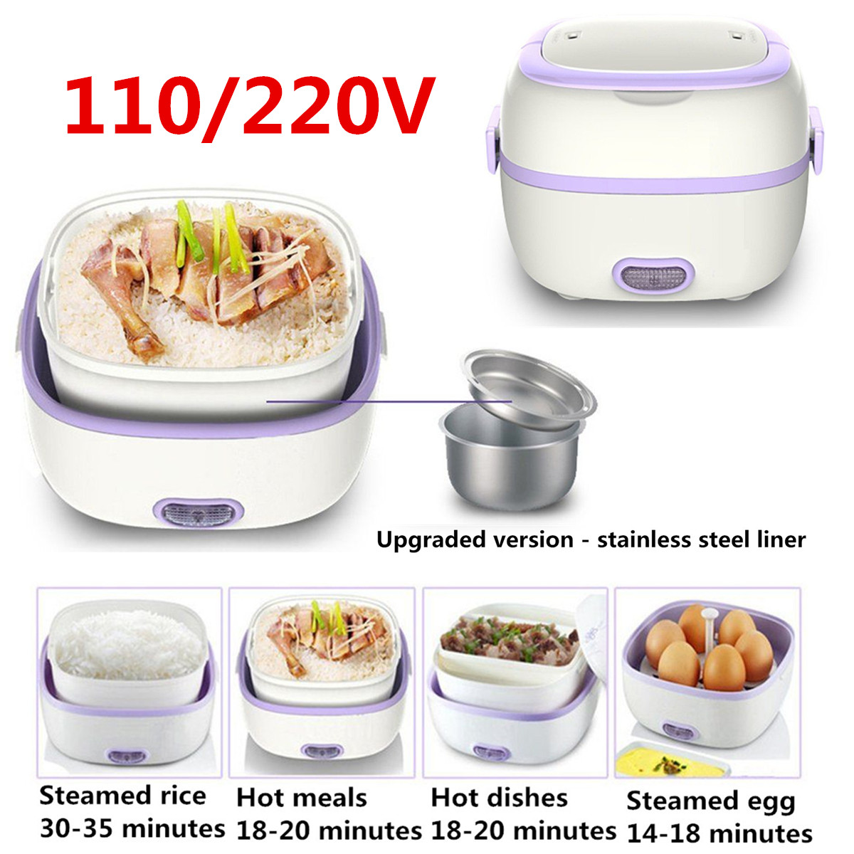 Multifunctional Electric Lunch Box Mini Rice Cooker Portable Food Heating Steamer Heat Preservation Lunch Box EU Plug/US plug