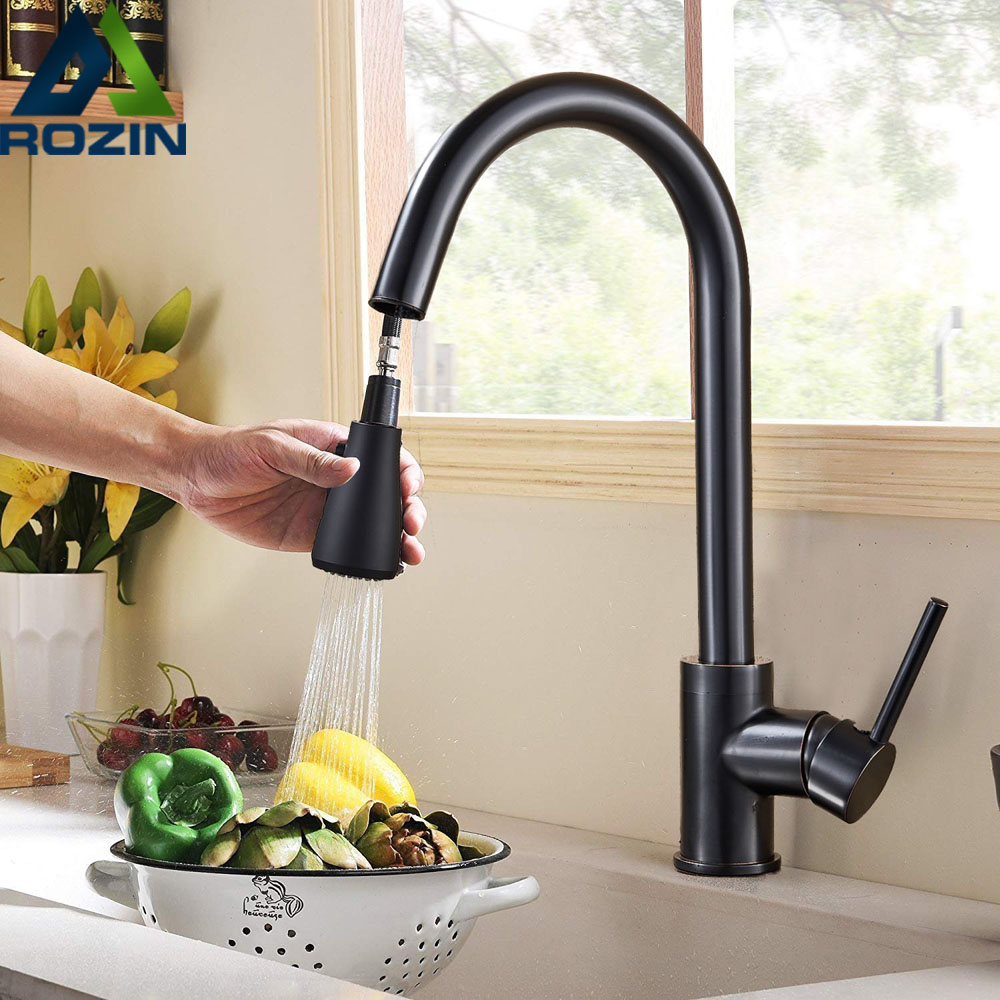 Black Pull Down Kitchen Faucet Tap Single Handle Oil Rubbed Bronze Kitchen Sink Mixer Tap 2 Pattern Shower Spout Hot Cold Faucet