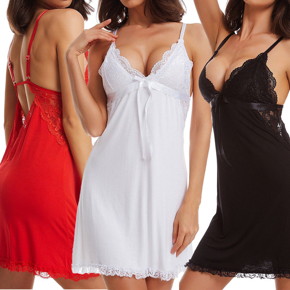 Plus Size 2XL Women Ladies Sexy Lingerie Lace Dress Deep V Underwear Babydoll Sleepwear Nightwear Nightgown