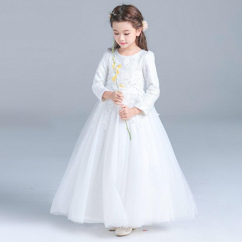 JaneyGao Flower Girl Dresses With Long Sleeves Floor Length White Elegant Princess Dress Girls Formal Gown For Wedding Party