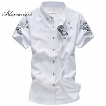 2019 Large Size 6XL Men's Shirt Summer Short Sleeve Floral Printed Slim Fit Plus Size Fashion Casual Manly Shirts Aleirmires - DISCOUNT ITEM  50% OFF All Category