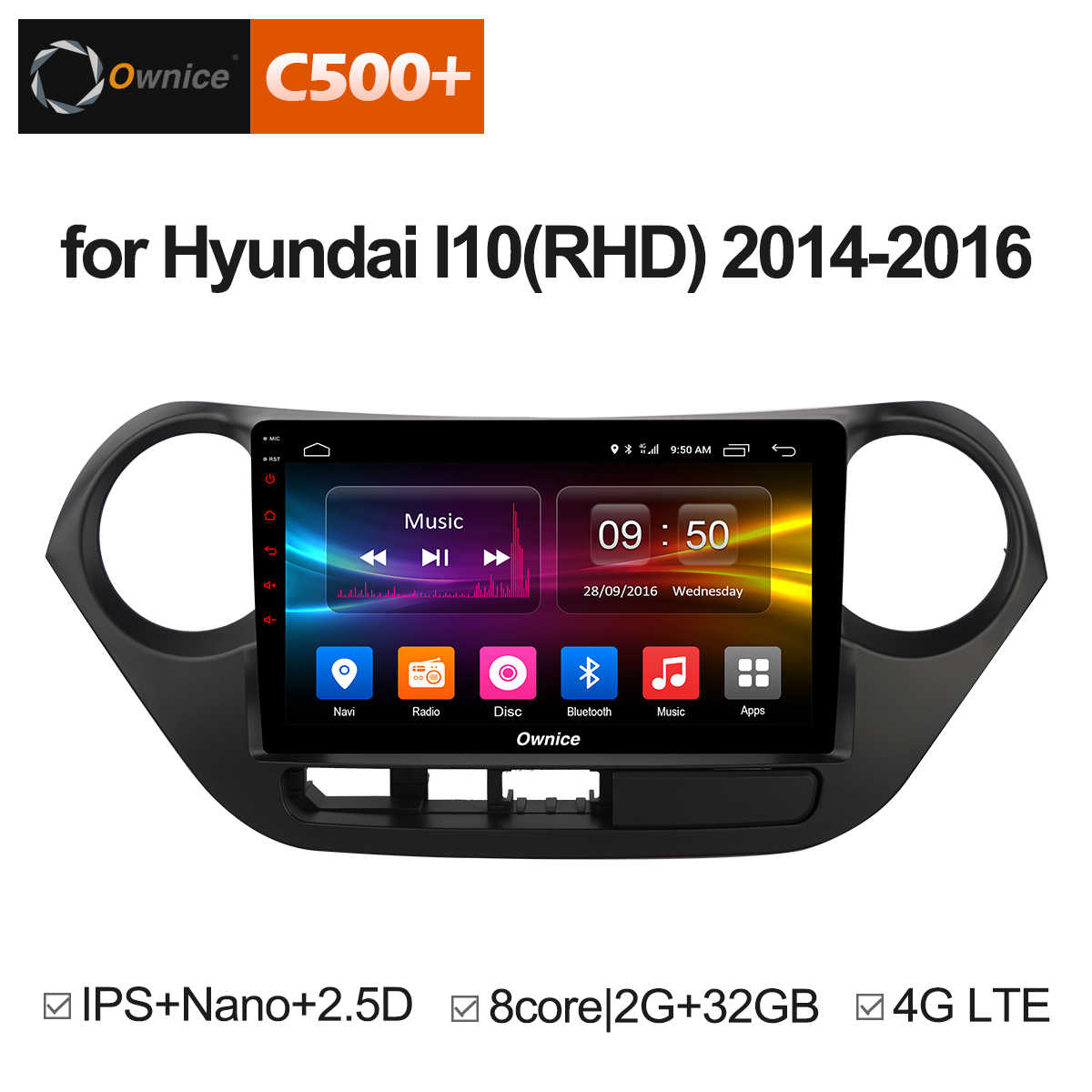 Ownice C500 + G10 9 Inch Android 8.1 Auto GPS Navigatie Radio Multimedia Speler Voor HYUNDAI I10 2014 2015 2016 grand i10 RHD LHD