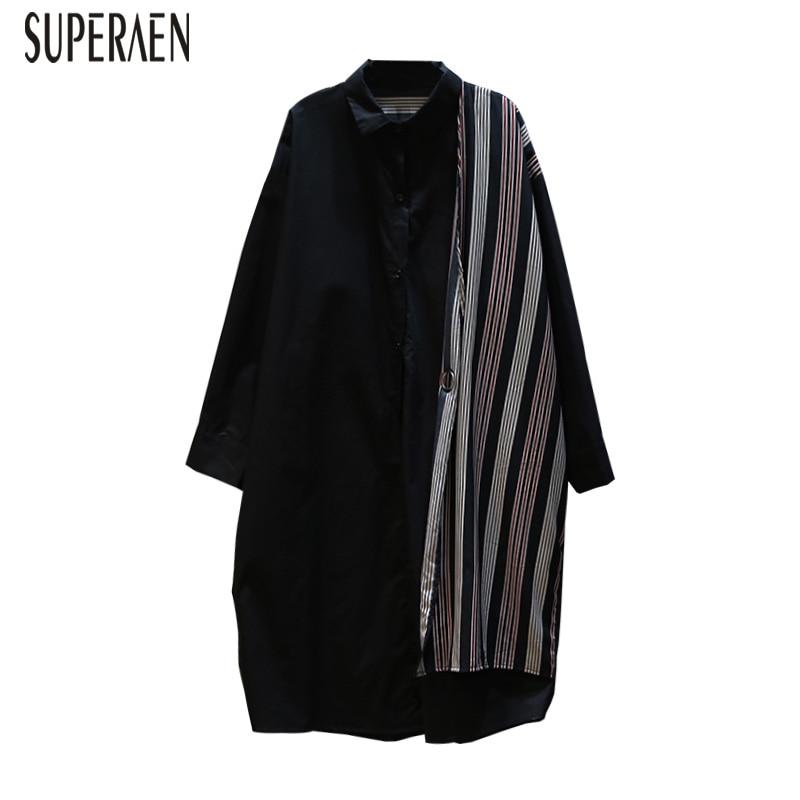 SuperAen 2019 Spring New Korean Style Women Shirt Wild Casual Cotton Blouses Female Cardigan Printed Long