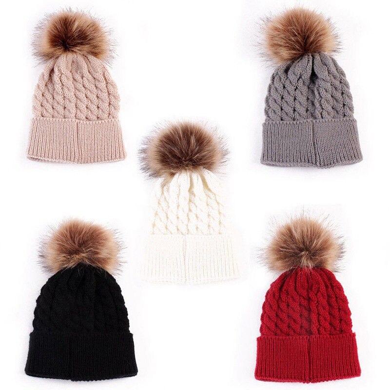 Apparel Accessories Kind-Hearted 2 Pcs Mother Kids Child Baby Warm Winter Knit Beanie Fur Pom Hat Crochet Ski Cap Cute 5 Colors