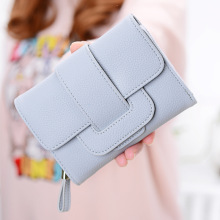 Wallet Womens Tri-Fold Short Section Korean Lychee Pattern Change Position Multi-Function Buckle