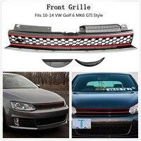 Car ABS Front High Bar Black Red Trim Mesh Grille For VW Golf 6 MK6 2010 2014
