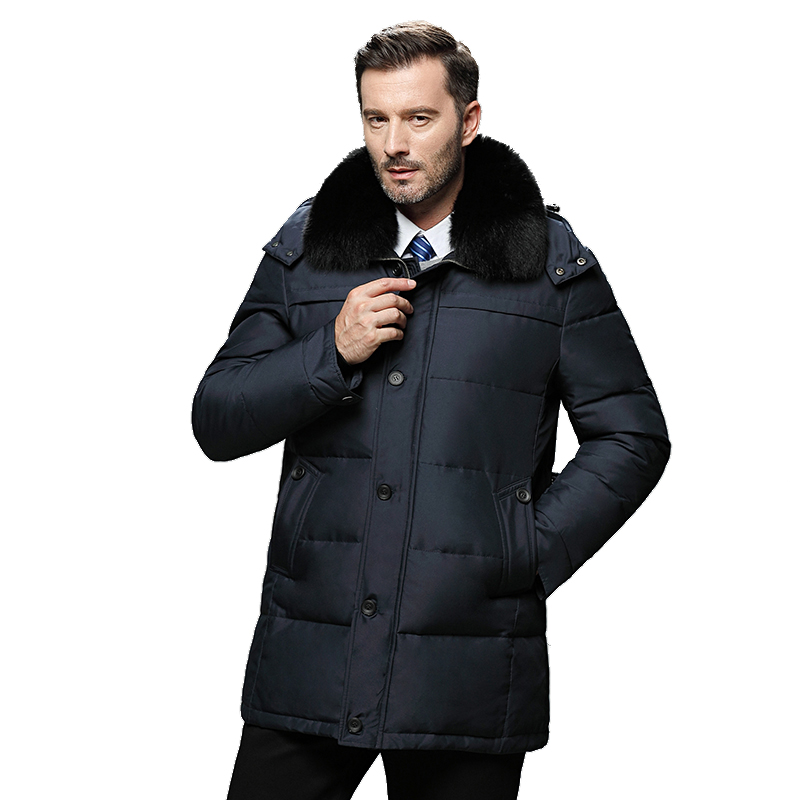 Men's Winter   Coats   Real Fur Collar Hooded Jackets Thick Warm White Duck   Down   Detachable Hood Hat Male Windproof Parka Large Size