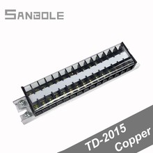 TD-2015 Copper Connection Terminal Block TD Series Barrier Fixed Connector Strip Dual Row Plug-in Copper 20A/600V 15P jtron zero line row ground row copper grounding strip 5 terminal block