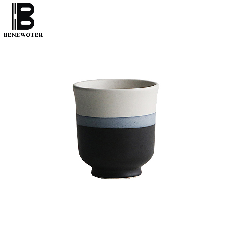 BENEWOTER 150ml Creative Japanese Ceramic Rough Pottery Tea Milk Coffee Cup White Ink Black Household Teacup cup