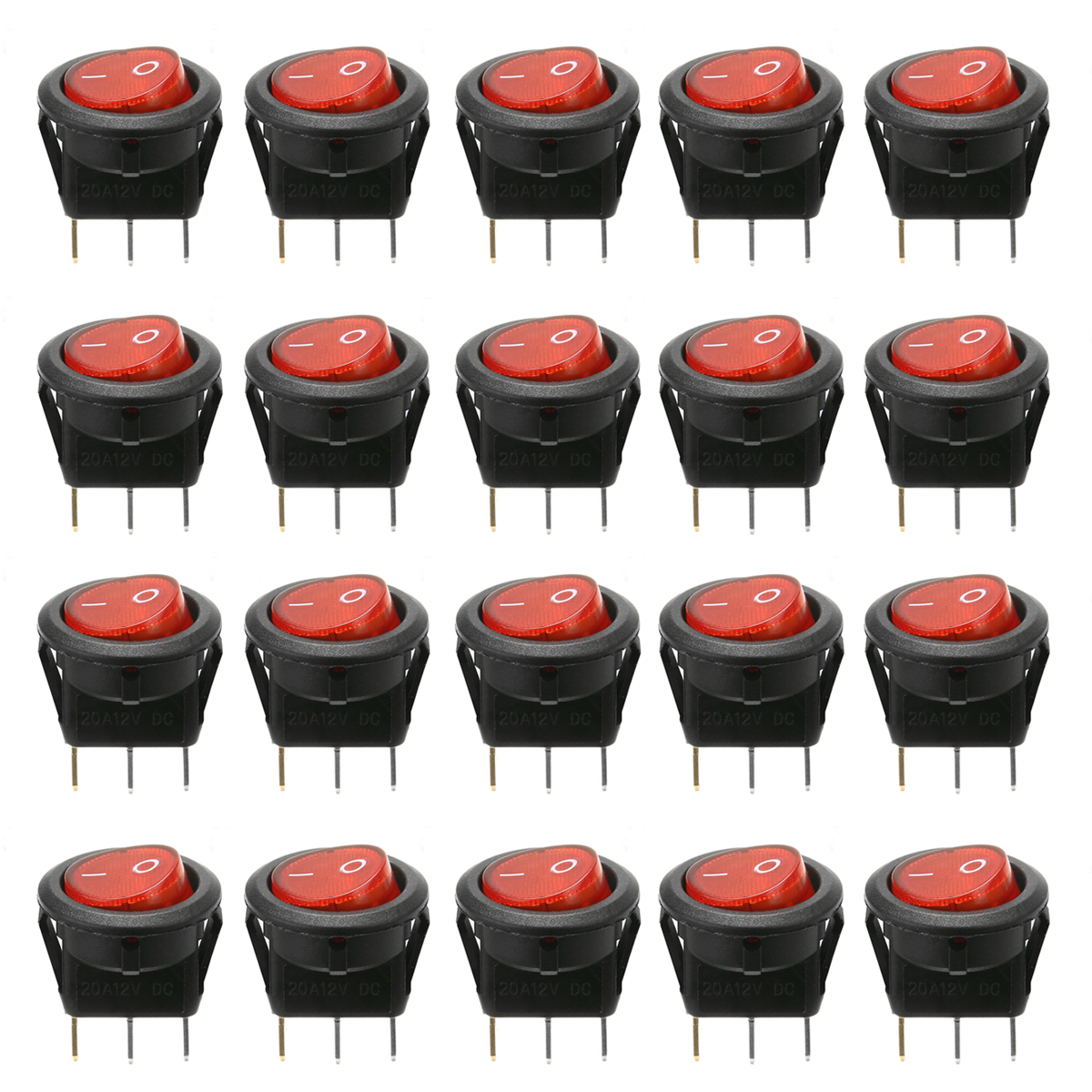New Arrival 20Pcs/set 12V Car Boat Push Button Switch Car Button Lights ON/OFF Round Rocker Switch Dash Boat