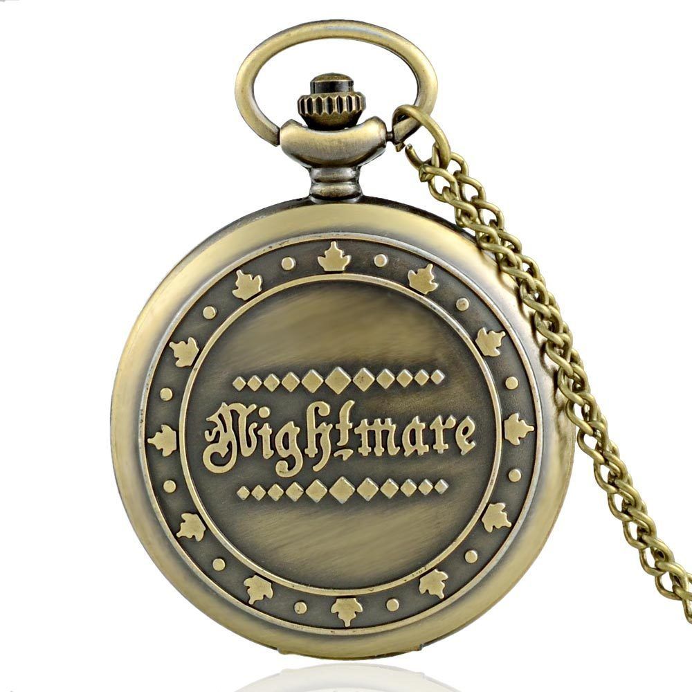 IBEINA  Nightmare Theme Full Hunter Quartz Engraved Fob Retro Pendant Pocket Watch Chain Gift