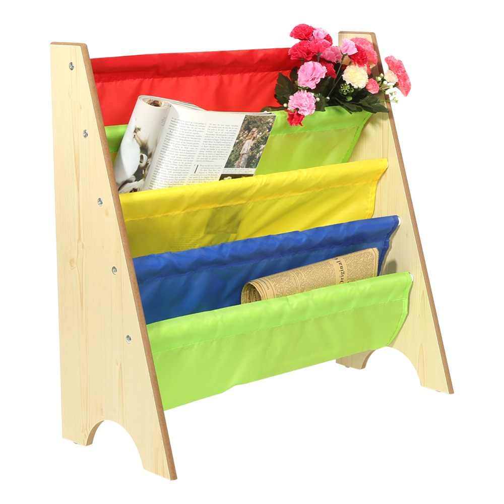 Furniture Rak Buku Shelve Mainan Penyimpanan Rak Multi-Warna Saku Rak Kayu untuk Anak-anak Buku Kayu Penyimpanan Hot Sale