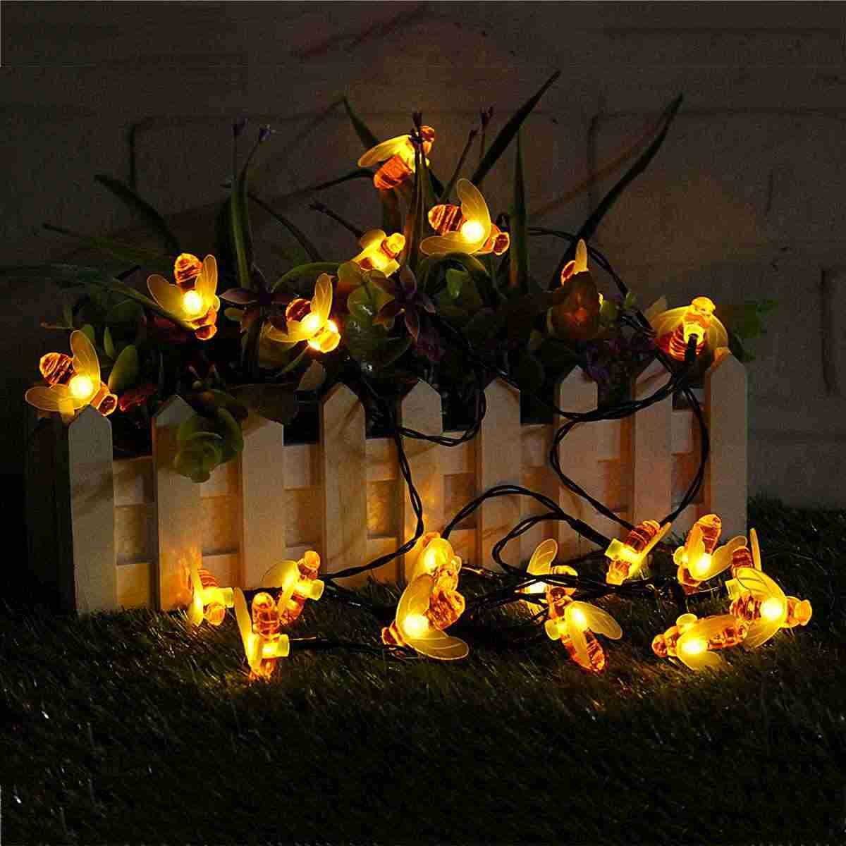 30 светодиодный гирлянда с солнечной батареей, медовая пчела, праздничное освещение, Открытый сад, водонепроницаемая Подвесная лампа, вечерние украшения, 6,5 м