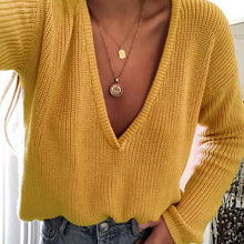 купить ZOGAA New Fashion Women Casual Deep V Neck Knitted Sweater Jumper Tops Long Sleeve Loose Solid color Pullover Sweater Autumn Hot онлайн