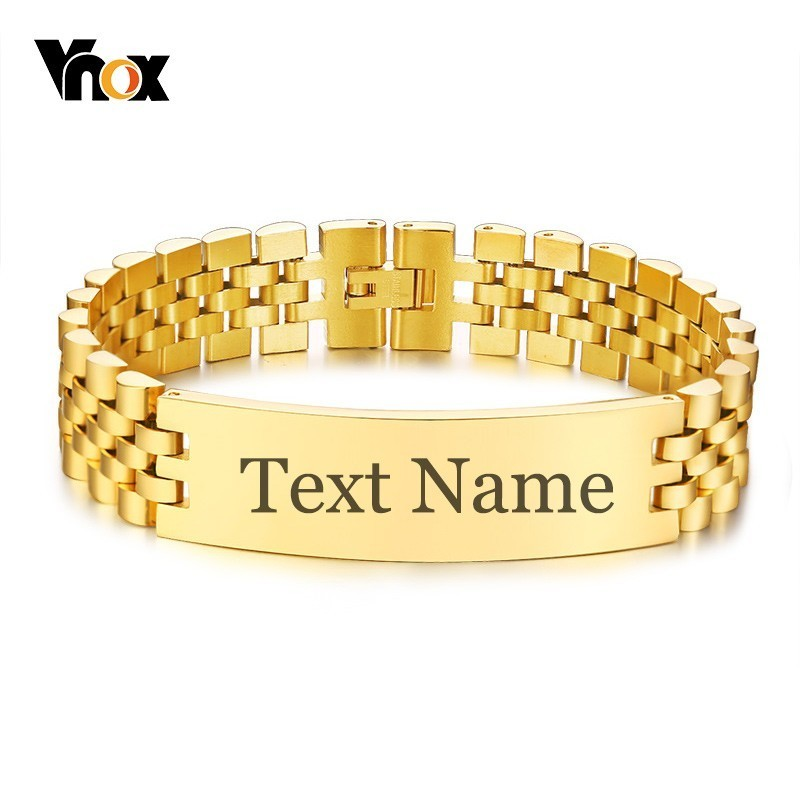 Vnox Mens 15mm Wide ID Tag Bracelets With Personalized Engrave Name Love Info 3 Color Watch Band Wrap Link Chain Pulseira