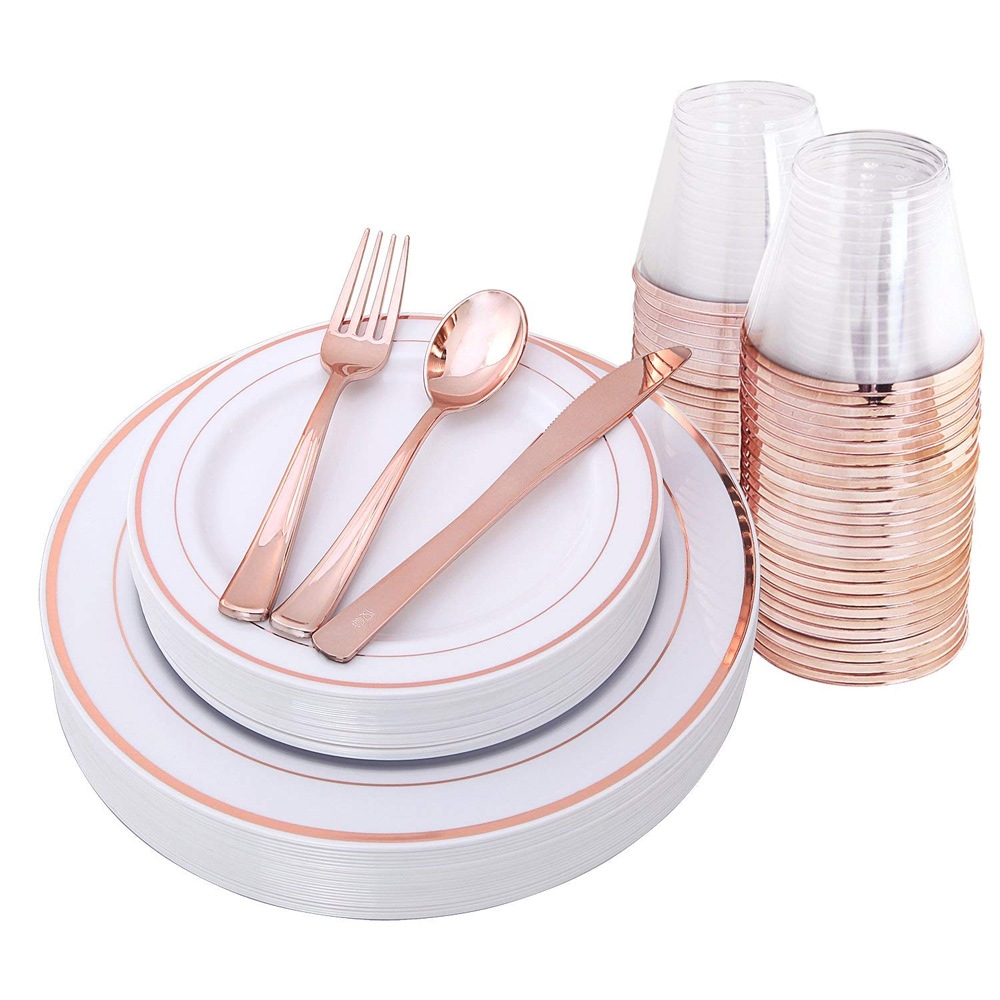 25 Guest Disposable Rose Gold Dinnerware Set Heavy Duty Plastic Plates Silverware Rose Gold Rim Cups