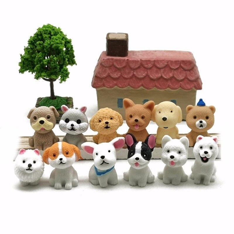 Mini cão filhote de cachorro em miniatura dos desenhos animados animal estatueta decoração do bolo resina artesanato fada jardim decoração casa ornamento diy acessórios