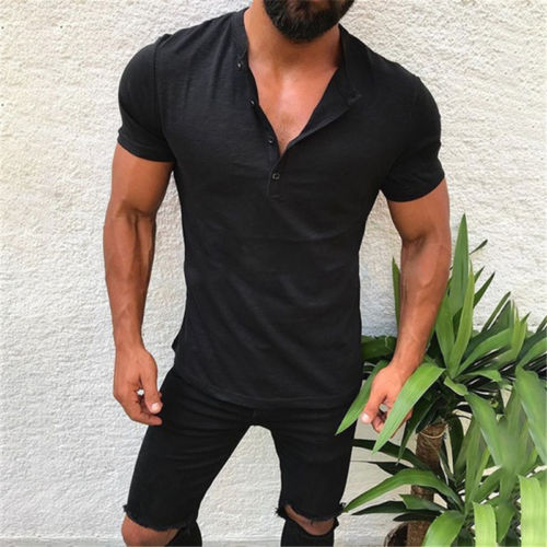 Men's Slim Fit V Neck Short Sleeve Muscle Tee   T  -  shirt   Casual Tops Henley   Shirts   Solid Fashion Button Tee Men New Fashion Clothes