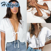 Summer Shirts 2019 New Women White Sexy Lace Edge Crop Short Sleeves V-Neck Up