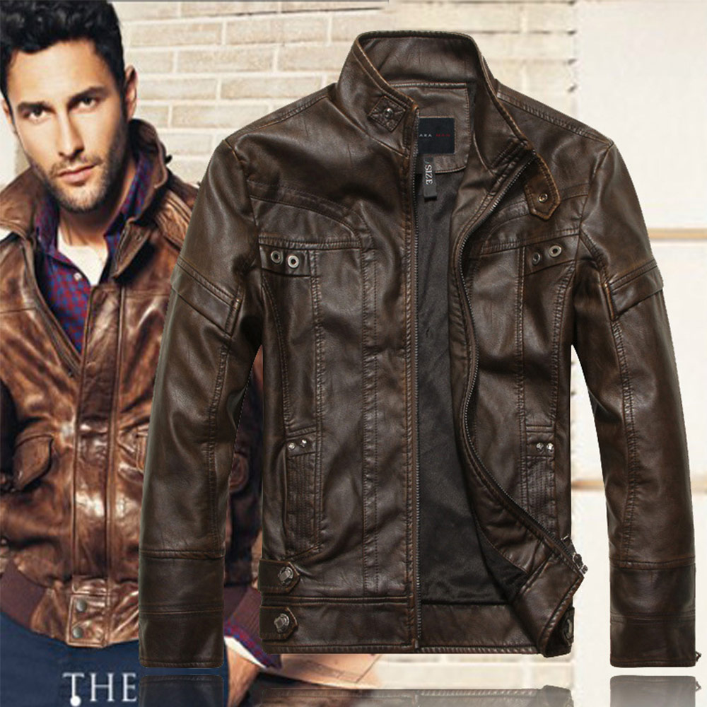Motorcycle PU Leather Men s Leisure Leather Jacket Washed Thin Standing Collar Motorcycle Leather Jacket Coat