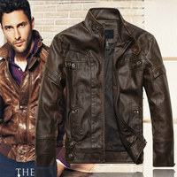 Motorcycle PU Leather Men's Leisure Leather Jacket Washed Thin Standing Collar Motorcycle Leather Jacket Coat