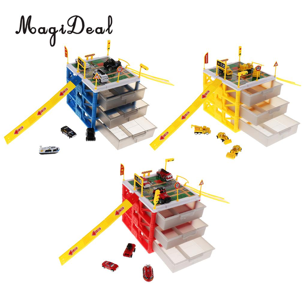 Kids Educational Three-layer Drawers Car Garage Box Storage Parking Lot Building Playset Children Educational Toy car parking lot toy model children assembled track parking garage toy diy assembled two story parking with tire carrying case