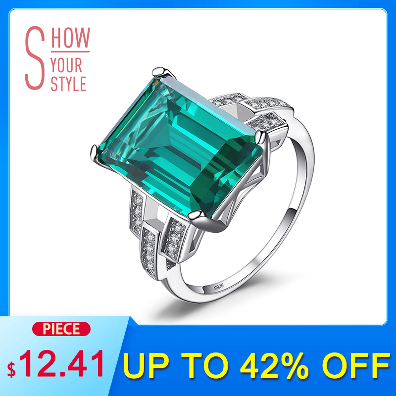 JewelryPalace Luxury 5.9ct Creato anello di smeraldo cocktail 100% reale 925 anelli in argento sterling per le donne accessori di gioielli