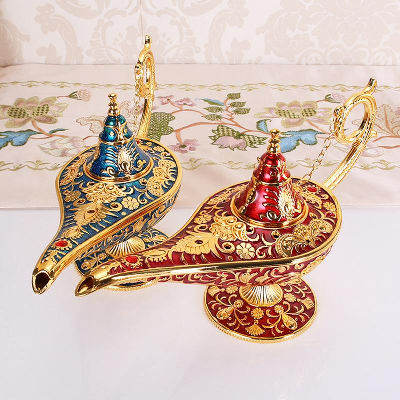 Retro Metal Carving Aladdin Magic Lamp Figurine Tin Alloy Home Decoration Collection Save Collection Art Craft Gift