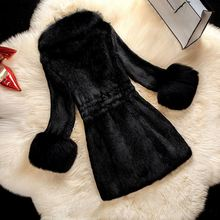 Laipelar Women Winter Coat Faux Fur Thick Warm OL Elegant Black Long Outwear Solid 2018 Fashion Chic Female Overcoat For Girl
