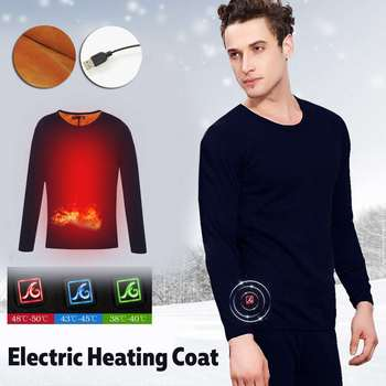 Men Outdoor Hiking Skiing Warm USB Heated Clothes Thermal Winter Heating Fishing Underwear Electric Heated Clothing