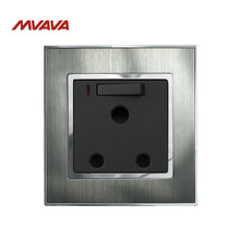 Mvava 15A Outlets South Africa Wall Socket and Switch with LED Switched Plug Silver Satin Metal Receptacle
