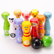 13pcs Cartoon Wooden Mini Baby Bowling Toys Kids Outdoors Toys Parent-child Interaction Games Educational Toys Baby Sports Gift baby toys 16pcs large cartoon farm city character dress string rope wooden toys child educational beads toys birthday gift