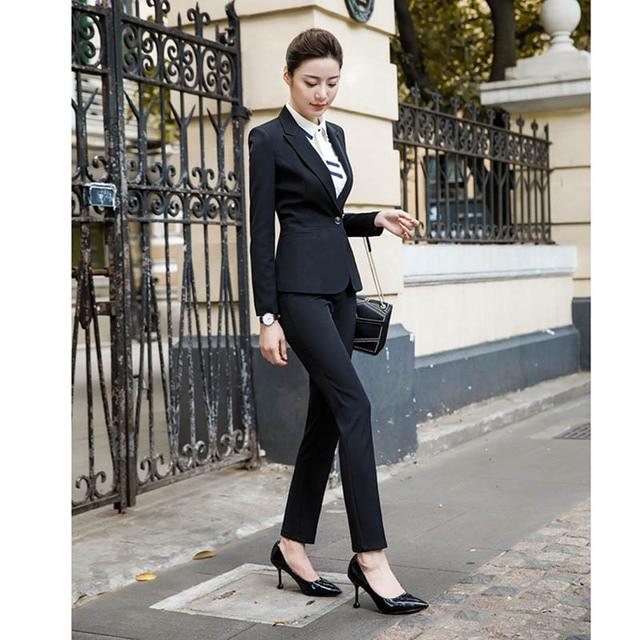 2020 Fashion Office Lady 2 Pieces Set Blazer +Elegant Skirt Or Pencil Pants Business Suit Formal Clothes Colors For Choose 3